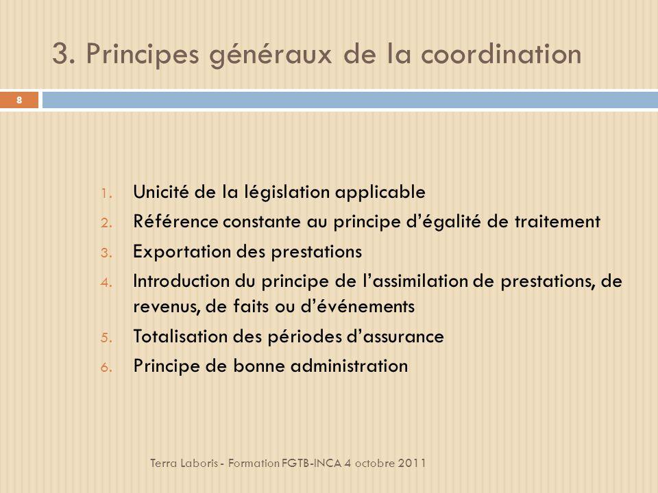3.Principes généraux de la coordination Terra Laboris - Formation FGTB-INCA 4 octobre 2011 8 1.