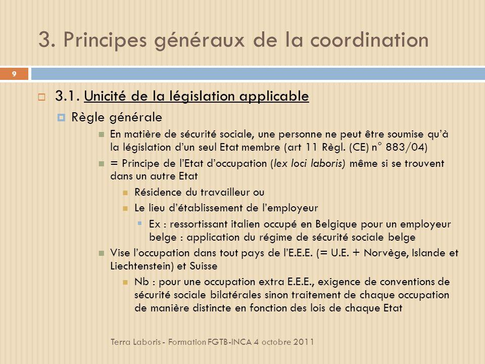 3.Principes généraux de la coordination Terra Laboris - Formation FGTB-INCA 4 octobre 2011 9 3.1.