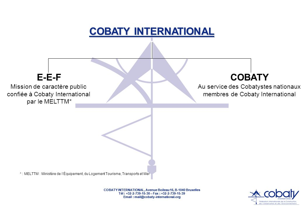 COBATY INTERNATIONAL, Avenue Boileau 16, B-1040 Bruxelles Tél : +32-2-739-15-30 – Fax : +32-2-739-15-39 Email : mail@cobaty-international.org E-E-F Mi