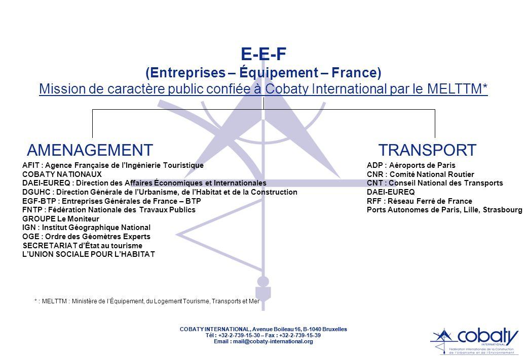 COBATY INTERNATIONAL, Avenue Boileau 16, B-1040 Bruxelles Tél : +32-2-739-15-30 – Fax : +32-2-739-15-39 Email : mail@cobaty-international.org COBATY INTERNATIONAL, Avenue Boileau 16, B-1040 Bruxelles Tél : +32-2-739-15-30 – Fax : +32-2-739-15-39 Email : mail@cobaty-international.org ADRESSE : AVENUE BOILEAU 16 B-1040 BRUXELLES TELEPHONE : +32-2-739-15-30 TELECOPIE : +32-2-739-15-39 EMAIL : mail@cobaty-international.org BASE DE DONNEES EN LIGNE : http://www.eef-eu.com SITE INTERNET : http://www.cobaty-international.org : en construction * Décision du Conseil dAdministration du 12 avril 2002 COBATY INTERNATIONAL