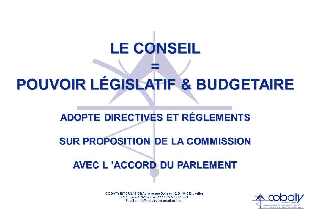 COBATY INTERNATIONAL, Avenue Boileau 16, B-1040 Bruxelles Tél : +32-2-739-15-30 – Fax : +32-2-739-15-39 Email : mail@cobaty-international.org LE CONSE