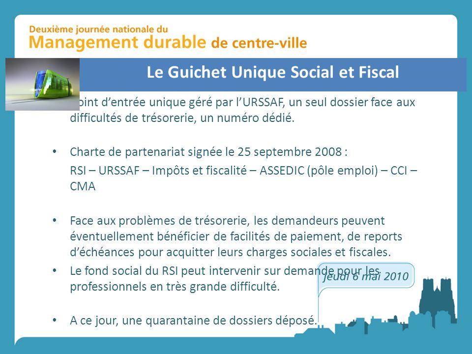Le Guichet Unique Social et Fiscal Un point dentrée unique géré par lURSSAF, un seul dossier face aux difficultés de trésorerie, un numéro dédié. Char