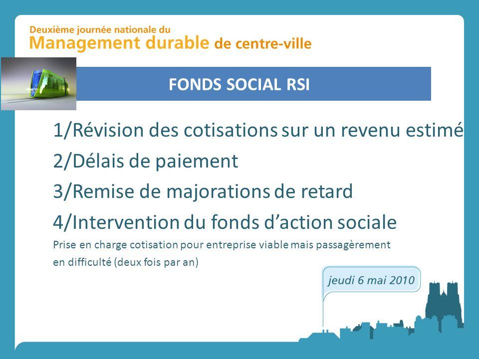 FONDS SOCIAL RSI 1/Révision des cotisations sur un revenu estimé 2/Délais de paiement 3/Remise de majorations de retard 4/Intervention du fonds daction sociale Prise en charge cotisation pour entreprise viable mais passagèrement en difficulté (deux fois par an)