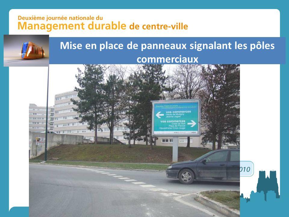 Mise en place de panneaux signalant les pôles commerciaux