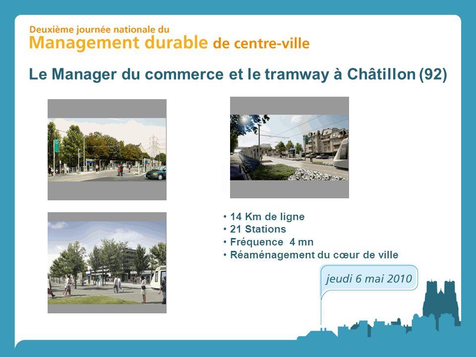 14 Km de ligne 21 Stations Fréquence 4 mn Réaménagement du cœur de ville Le Manager du commerce et le tramway à Châtillon (92)