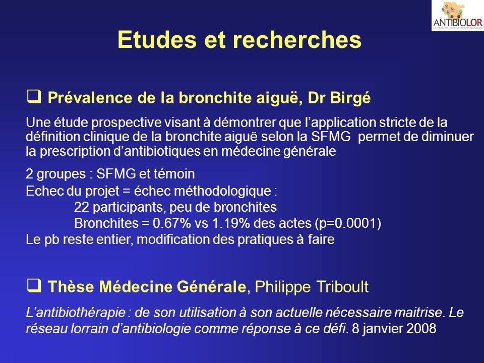 Etudes et recherches Prévalence de la bronchite aiguë, Dr Birgé Une étude prospective visant à démontrer que lapplication stricte de la définition cli