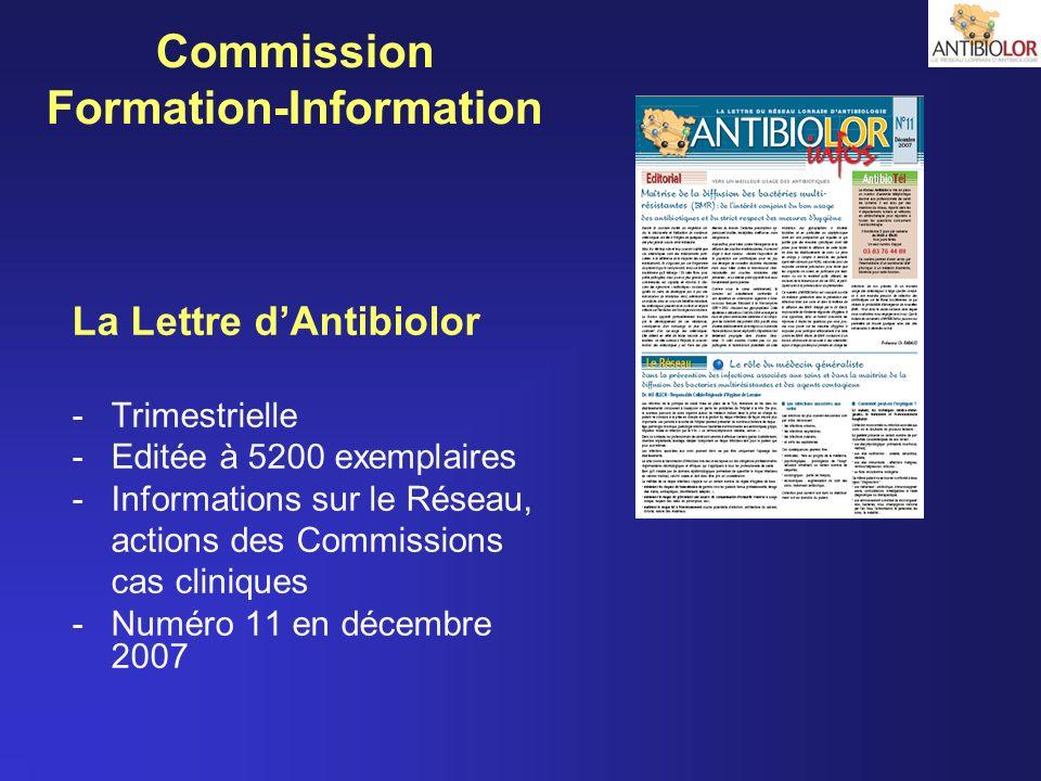 Commission Formation-Information La Lettre dAntibiolor -Trimestrielle -Editée à 5200 exemplaires -Informations sur le Réseau, actions des Commissions