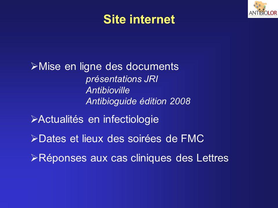 Site internet Mise en ligne des documents présentations JRI Antibioville Antibioguide édition 2008 Actualités en infectiologie Dates et lieux des soir
