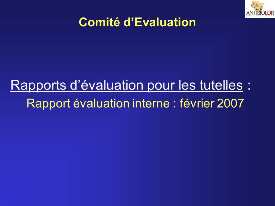 Comité dEvaluation Rapports dévaluation pour les tutelles : Rapport évaluation interne : février 2007