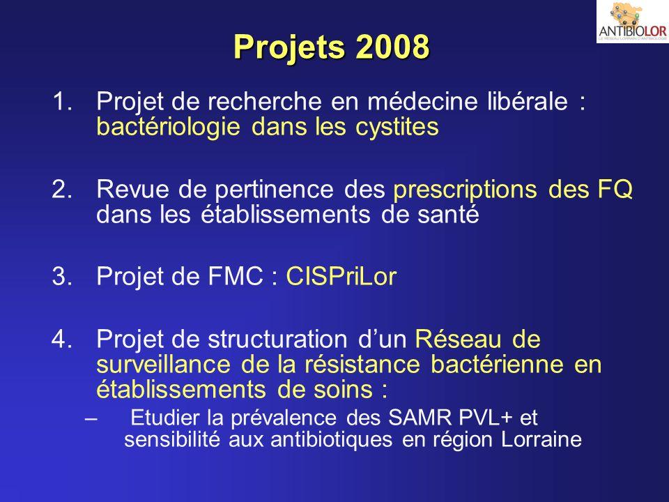 Projets 2008 1.Projet de recherche en médecine libérale : bactériologie dans les cystites 2.Revue de pertinence des prescriptions des FQ dans les étab