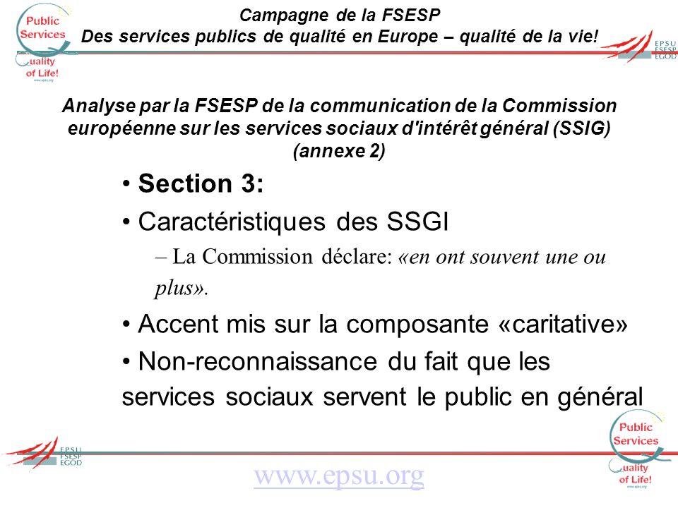 Campagne de la FSESP Des services publics de qualité en Europe – qualité de la vie.