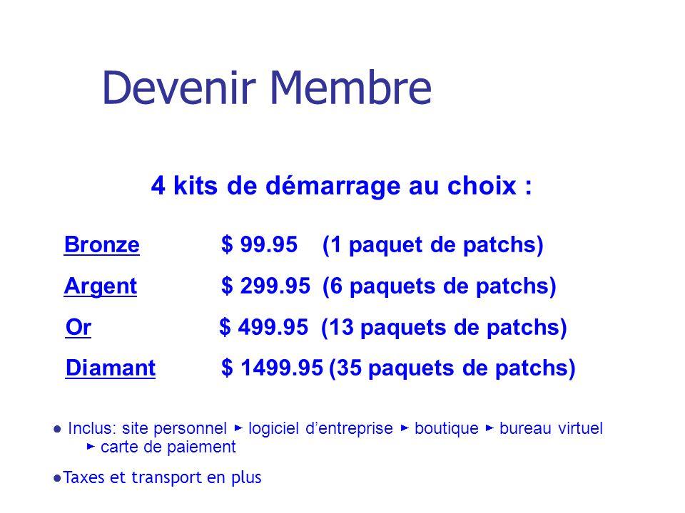 4 kits de démarrage au choix : Bronze $ 99.95 (1 paquet de patchs) Argent $ 299.95 (6 paquets de patchs) Or $ 499.95 (13 paquets de patchs) Diamant $ 1499.95 (35 paquets de patchs) Inclus: site personnel logiciel dentreprise boutique bureau virtuel carte de paiement Taxes et transport en plus Devenir Membre