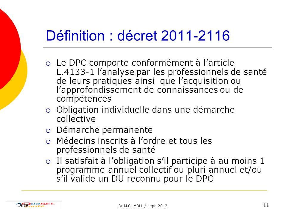 Dr M.C. MOLL / sept 2012 Date11 Définition : décret 2011-2116 Le DPC comporte conformément à larticle L.4133-1 lanalyse par les professionnels de sant