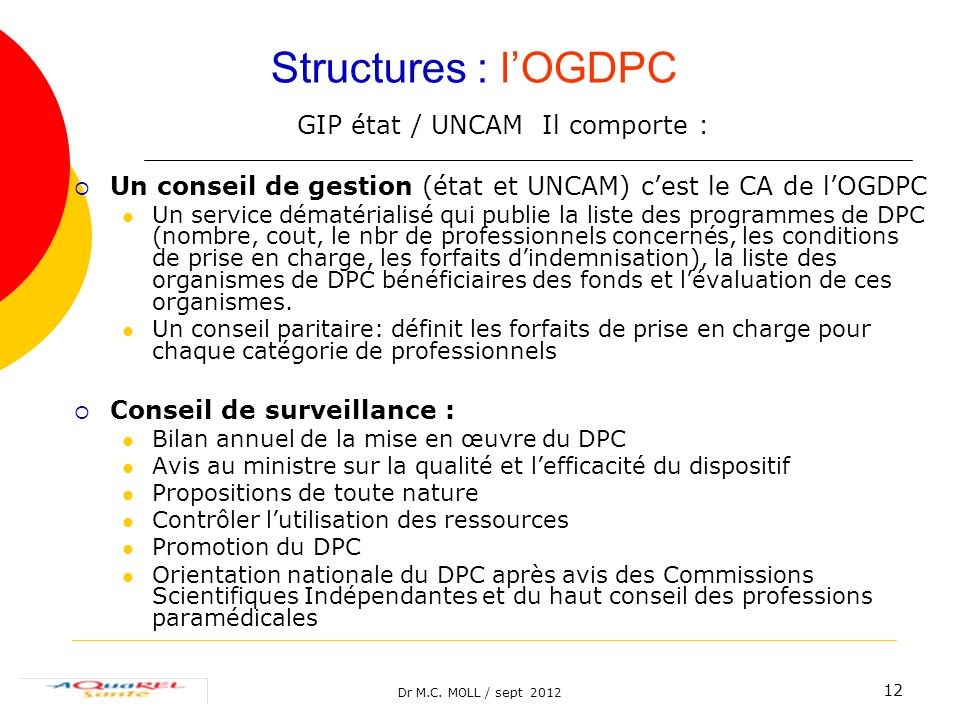 Dr M.C. MOLL / sept 2012 12 Structures : lOGDPC GIP état / UNCAM Il comporte : Un conseil de gestion (état et UNCAM) cest le CA de lOGDPC Un service d