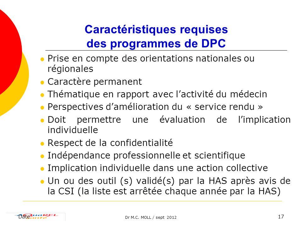 Dr M.C. MOLL / sept 2012 Date17 Prise en compte des orientations nationales ou régionales Caractère permanent Thématique en rapport avec lactivité du