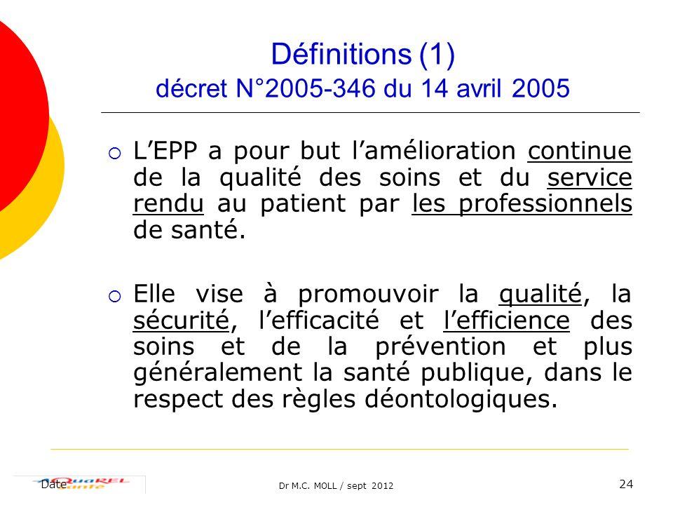 Dr M.C. MOLL / sept 2012 Date24 Définitions (1) décret N°2005-346 du 14 avril 2005 LEPP a pour but lamélioration continue de la qualité des soins et d