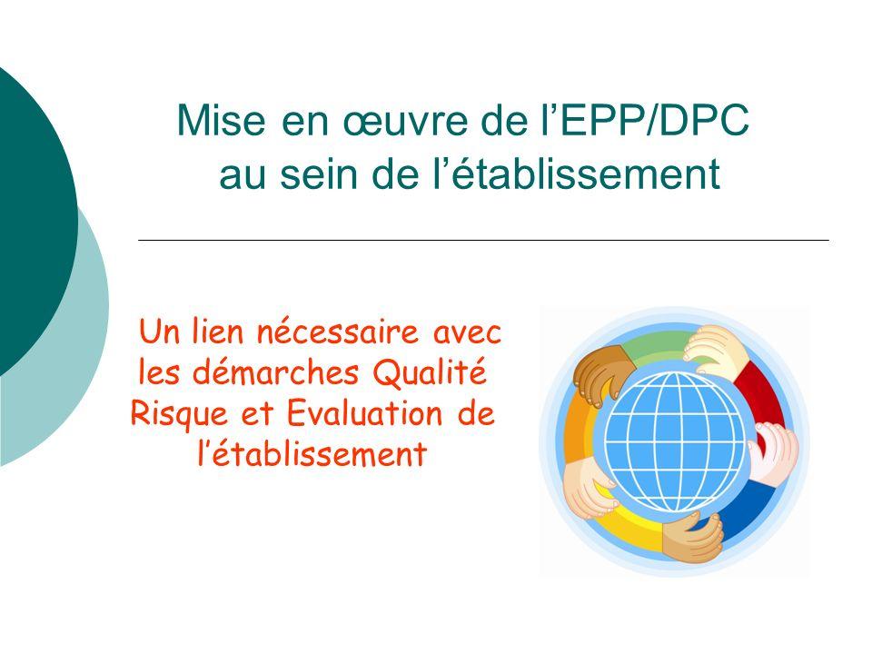 Mise en œuvre de lEPP/DPC au sein de létablissement Un lien nécessaire avec les démarches Qualité Risque et Evaluation de létablissement