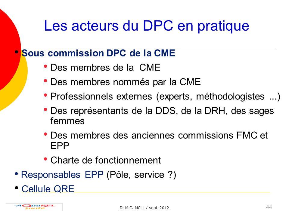 Dr M.C. MOLL / sept 2012 44 Sous commission DPC de la CME Des membres de la CME Des membres nommés par la CME Professionnels externes (experts, méthod