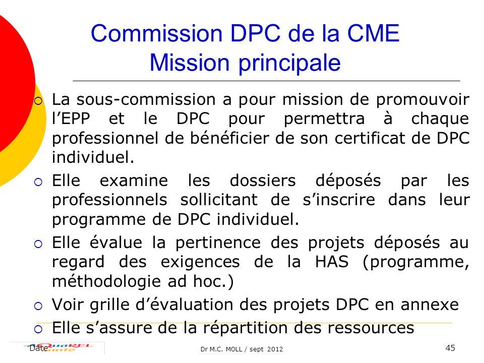Dr M.C. MOLL / sept 2012 Date45 Commission DPC de la CME Mission principale La sous-commission a pour mission de promouvoir lEPP et le DPC pour permet
