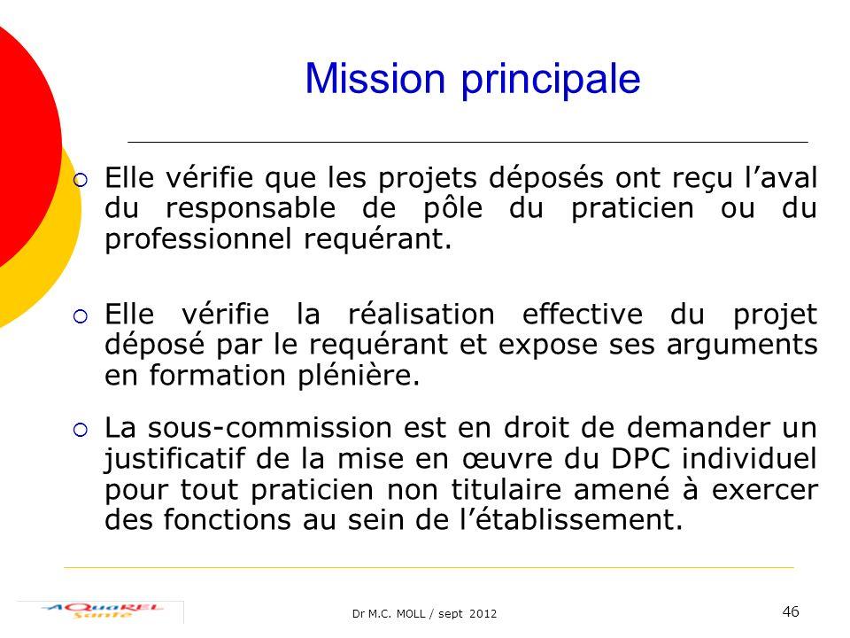Dr M.C. MOLL / sept 2012 46 Mission principale Elle vérifie que les projets déposés ont reçu laval du responsable de pôle du praticien ou du professio