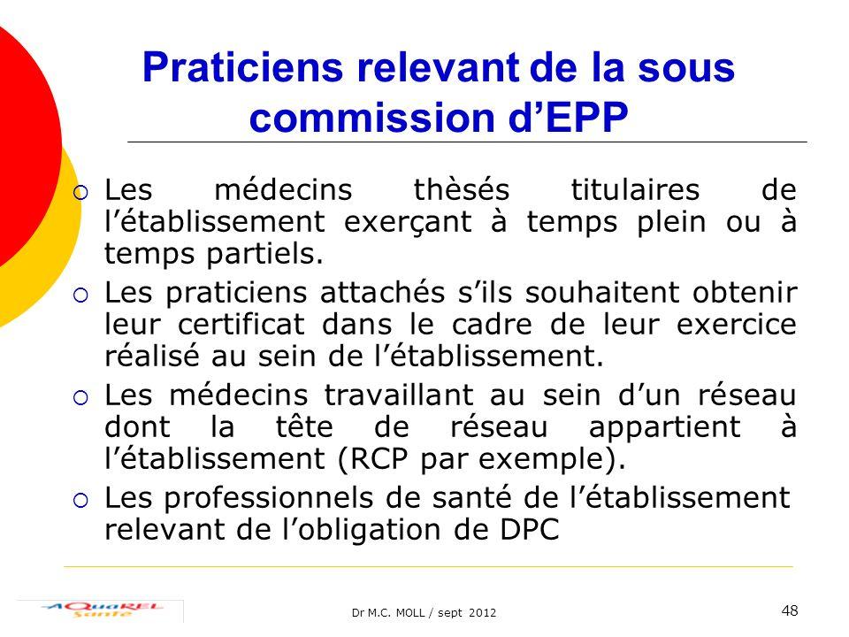 Dr M.C. MOLL / sept 2012 48 Praticiens relevant de la sous commission dEPP Les médecins thèsés titulaires de létablissement exerçant à temps plein ou