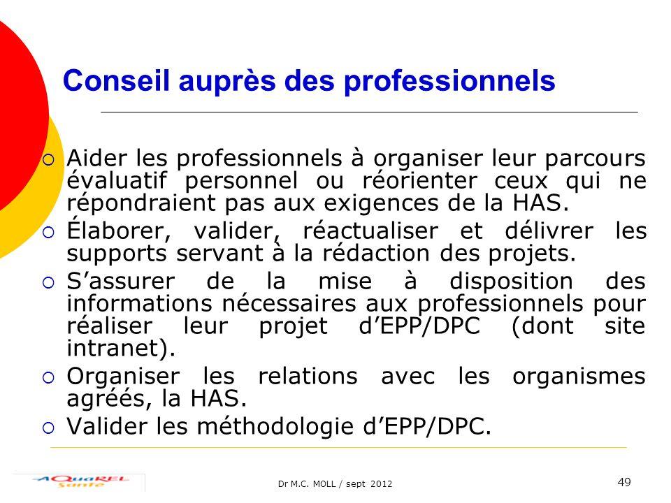 Dr M.C. MOLL / sept 2012 49 Conseil auprès des professionnels Aider les professionnels à organiser leur parcours évaluatif personnel ou réorienter ceu