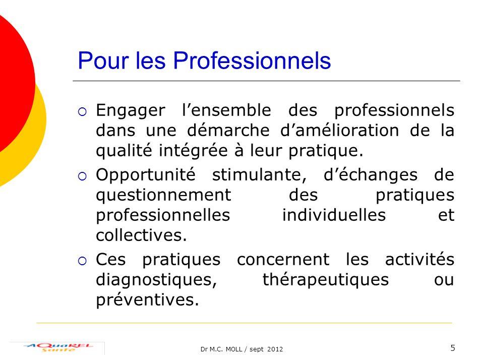 Dr M.C. MOLL / sept 2012 5 Pour les Professionnels Engager lensemble des professionnels dans une démarche damélioration de la qualité intégrée à leur