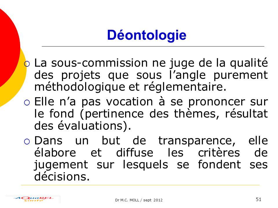 Dr M.C. MOLL / sept 2012 51 Déontologie La sous-commission ne juge de la qualité des projets que sous langle purement méthodologique et réglementaire.