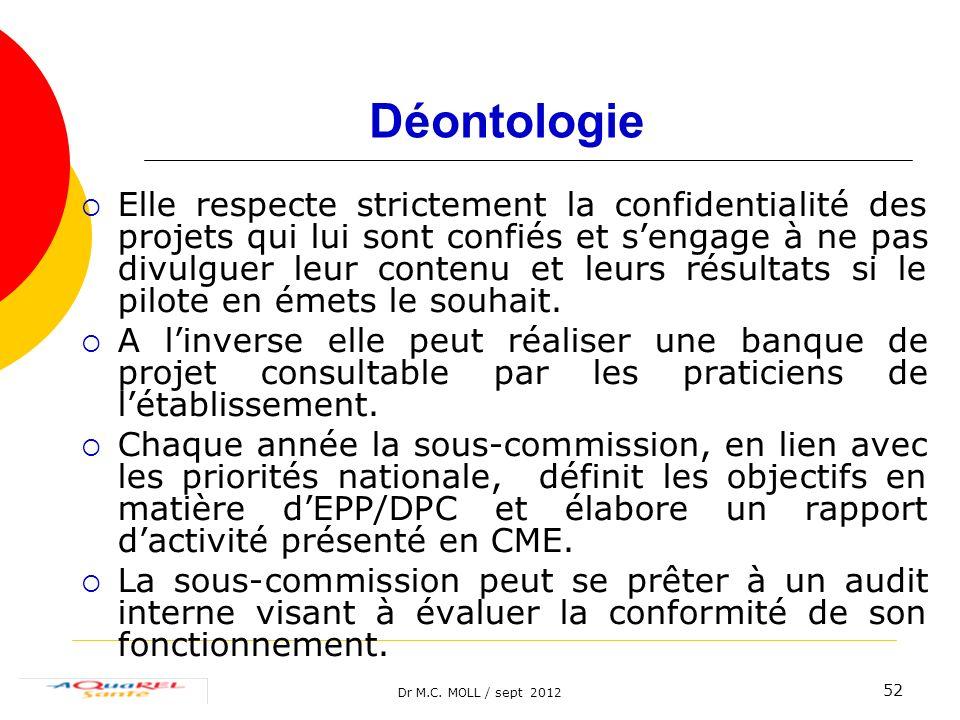 Dr M.C. MOLL / sept 2012 52 Déontologie Elle respecte strictement la confidentialité des projets qui lui sont confiés et sengage à ne pas divulguer le