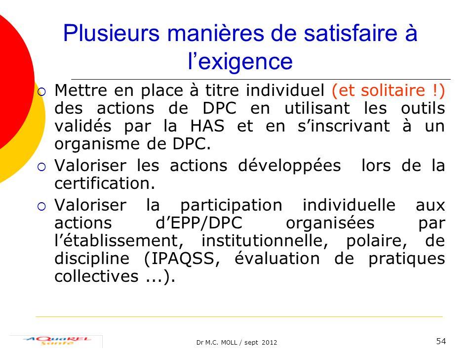 Dr M.C. MOLL / sept 2012 54 Plusieurs manières de satisfaire à lexigence Mettre en place à titre individuel (et solitaire !) des actions de DPC en uti