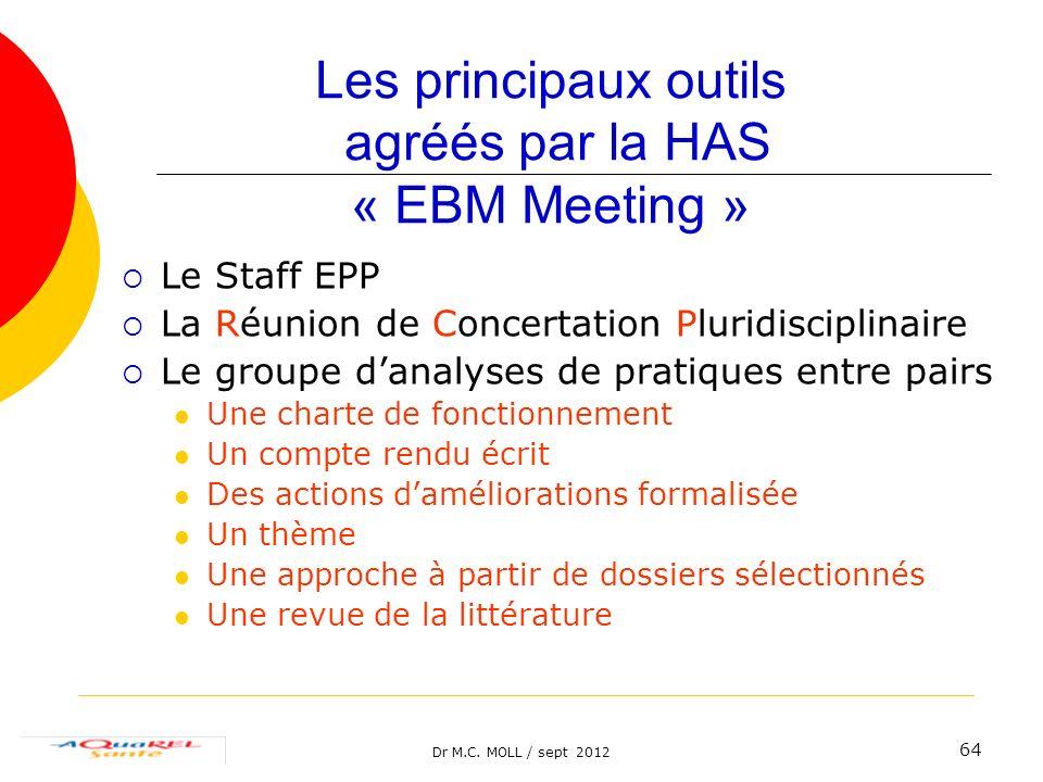 Dr M.C. MOLL / sept 2012 64 Les principaux outils agréés par la HAS « EBM Meeting » Le Staff EPP La Réunion de Concertation Pluridisciplinaire Le grou