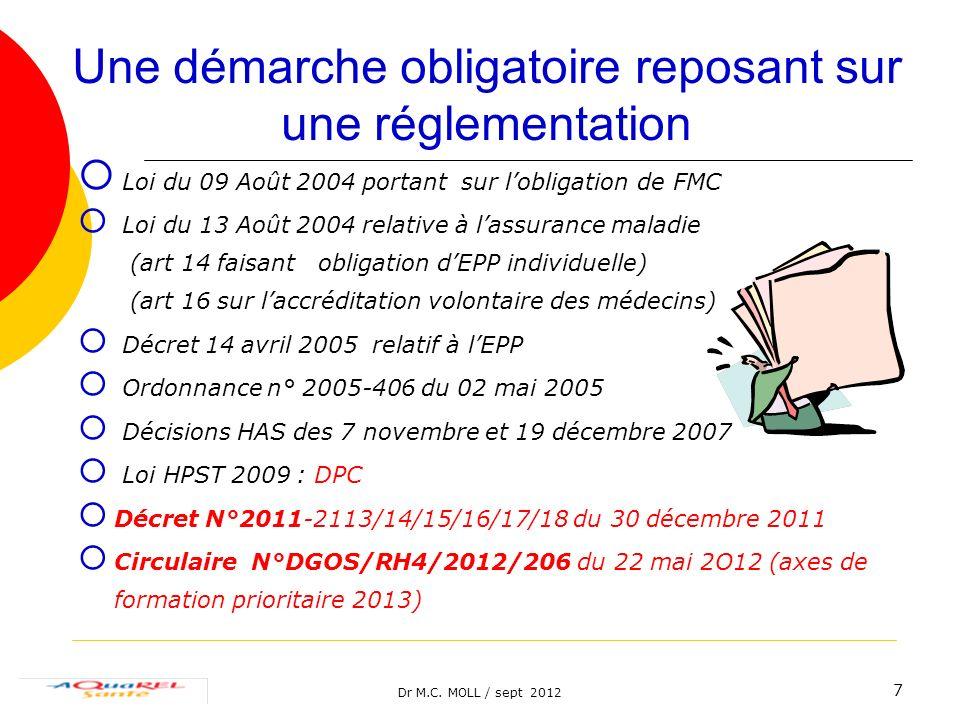 Dr M.C. MOLL / sept 2012 7 Une démarche obligatoire reposant sur une réglementation Loi du 09 Août 2004 portant sur lobligation de FMC Loi du 13 Août
