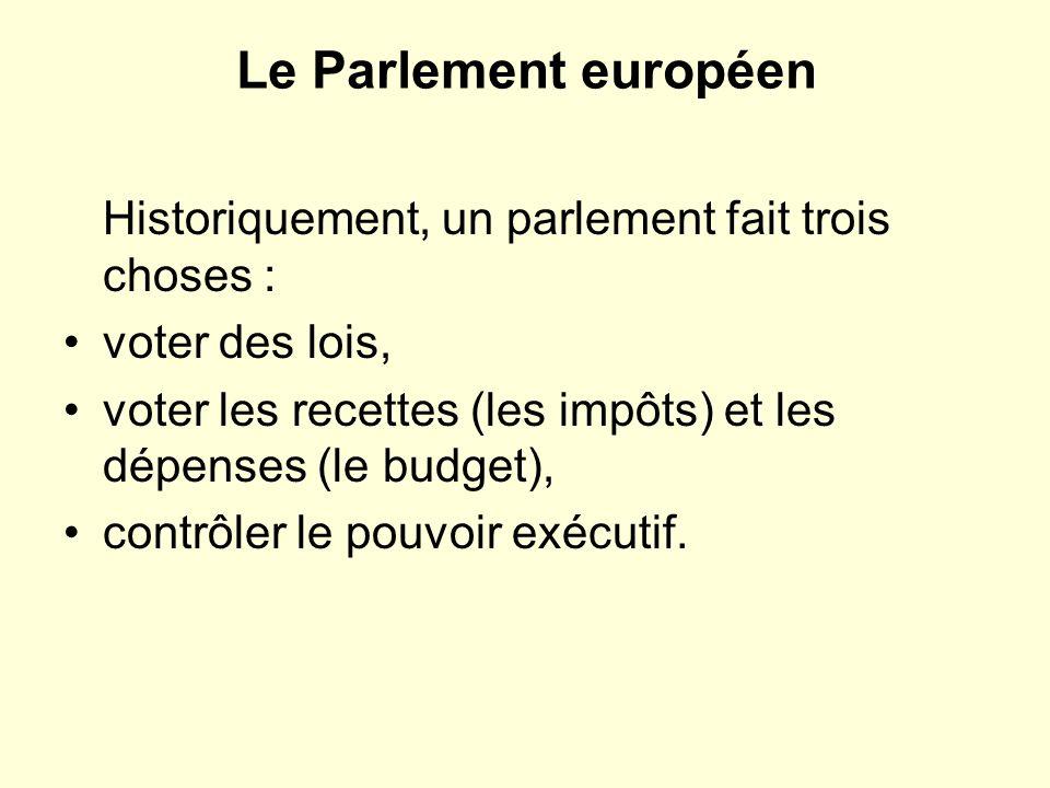 Le Parlement européen Historiquement, un parlement fait trois choses : voter des lois, voter les recettes (les impôts) et les dépenses (le budget), contrôler le pouvoir exécutif.