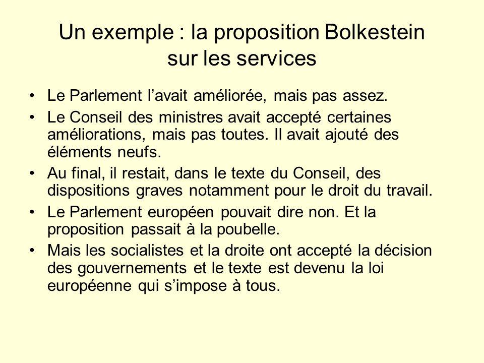 Un exemple : la proposition Bolkestein sur les services Le Parlement lavait améliorée, mais pas assez.