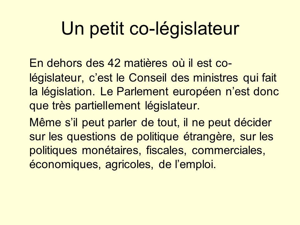Un petit co-législateur En dehors des 42 matières où il est co- législateur, cest le Conseil des ministres qui fait la législation.