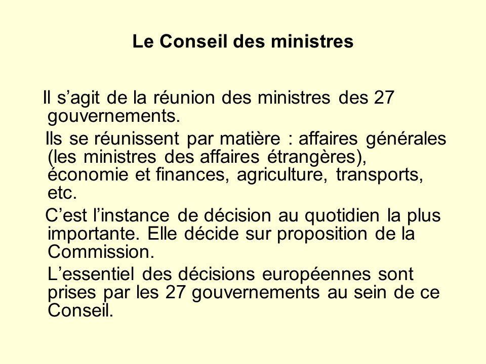 Le Conseil des ministres Il sagit de la réunion des ministres des 27 gouvernements.