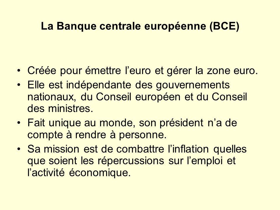 La Banque centrale européenne (BCE) Créée pour émettre leuro et gérer la zone euro.