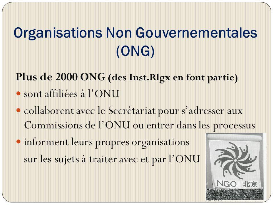 Organisations Non Gouvernementales (ONG) Plus de 2000 ONG (des Inst.Rlgx en font partie) sont affiliées à lONU collaborent avec le Secrétariat pour sadresser aux Commissions de lONU ou entrer dans les processus informent leurs propres organisations sur les sujets à traiter avec et par lONU