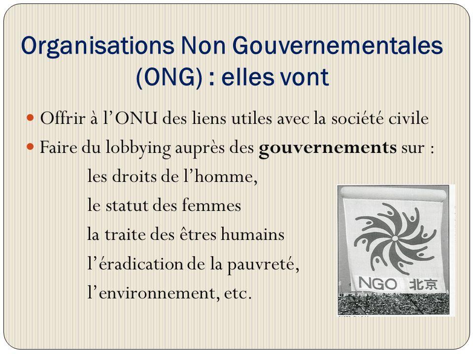 Organisations Non Gouvernementales (ONG) : elles vont Offrir à lONU des liens utiles avec la société civile Faire du lobbying auprès des gouvernements sur : les droits de lhomme, le statut des femmes la traite des êtres humains léradication de la pauvreté, lenvironnement, etc.