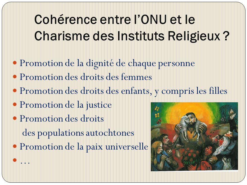 Cohérence entre lONU et le Charisme des Instituts Religieux .