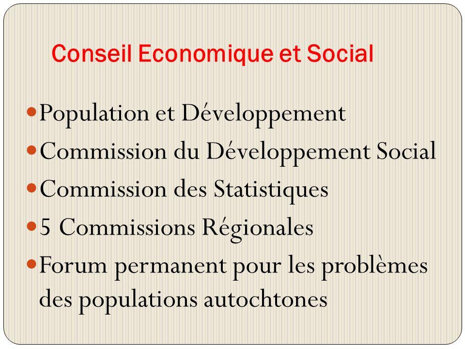 Conseil Economique et Social Population et Développement Commission du Développement Social Commission des Statistiques 5 Commissions Régionales Forum permanent pour les problèmes des populations autochtones