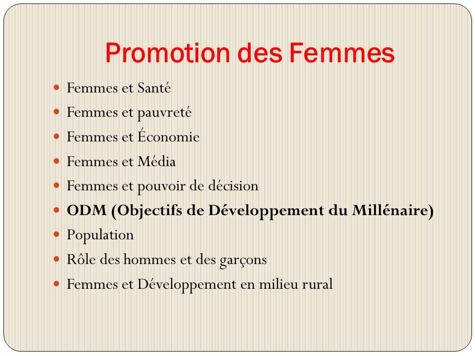 Promotion des Femmes Femmes et Santé Femmes et pauvreté Femmes et Économie Femmes et Média Femmes et pouvoir de décision ODM (Objectifs de Développement du Millénaire) Population Rôle des hommes et des garçons Femmes et Développement en milieu rural