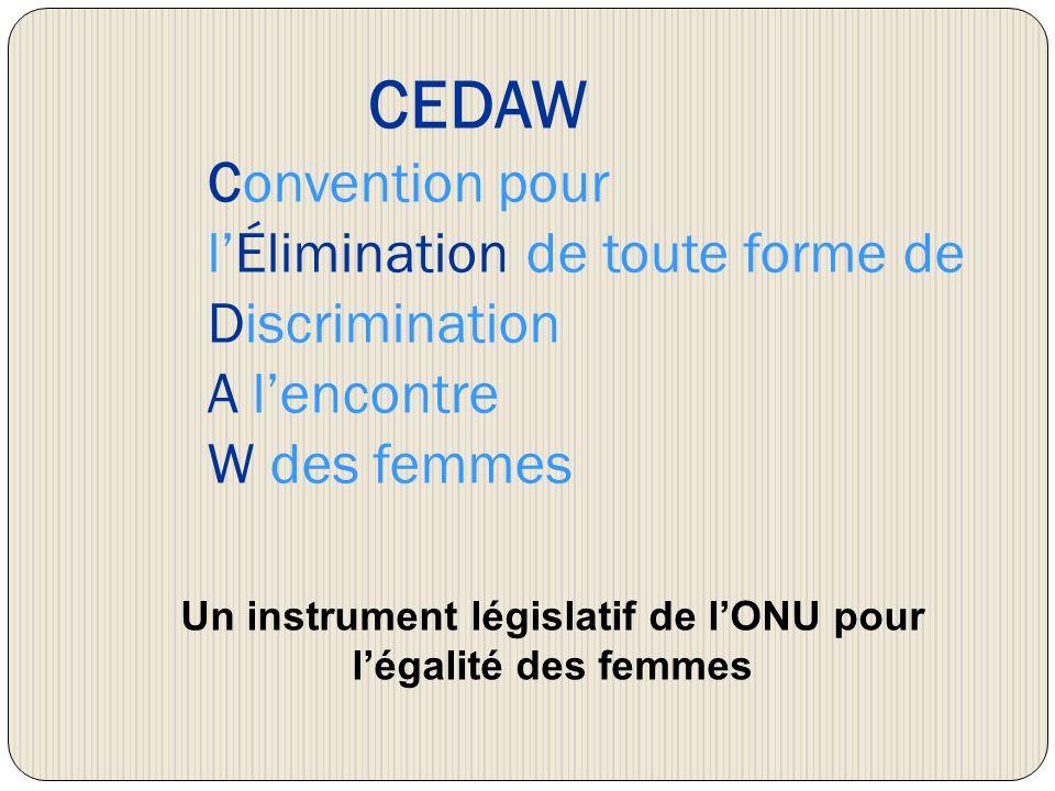 CEDAW Convention pour lÉlimination de toute forme de Discrimination A lencontre W des femmes Un instrument législatif de lONU pour légalité des femmes