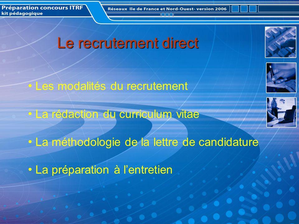 Le recrutement direct Les modalités du recrutement La rédaction du curriculum vitae La méthodologie de la lettre de candidature La préparation à lentretien