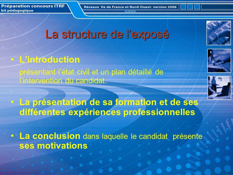 La structure de lexposé Lintroduction présentant létat civil et un plan détaillé de lintervention du candidat.