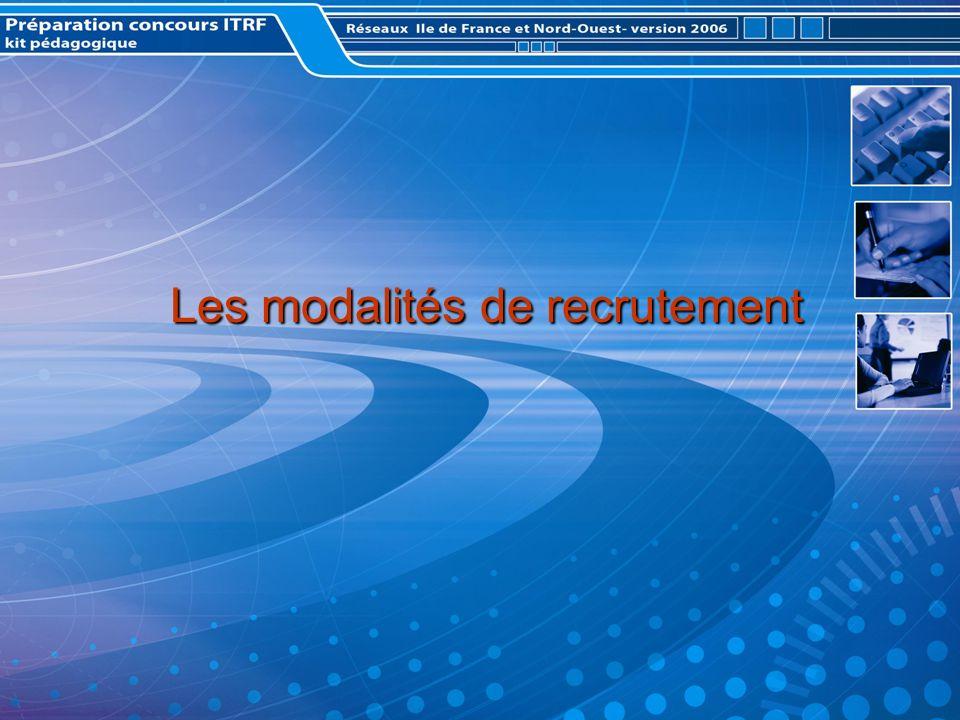 Les modalités de recrutement Les modalités de recrutement
