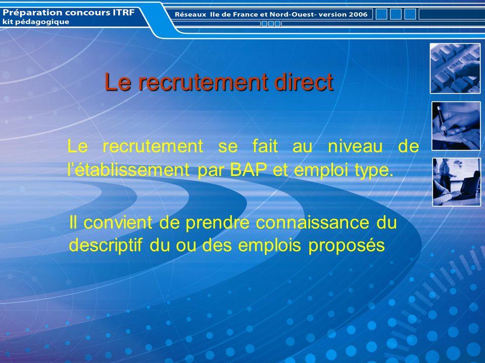 Le recrutement direct Le recrutement se fait au niveau de létablissement par BAP et emploi type.