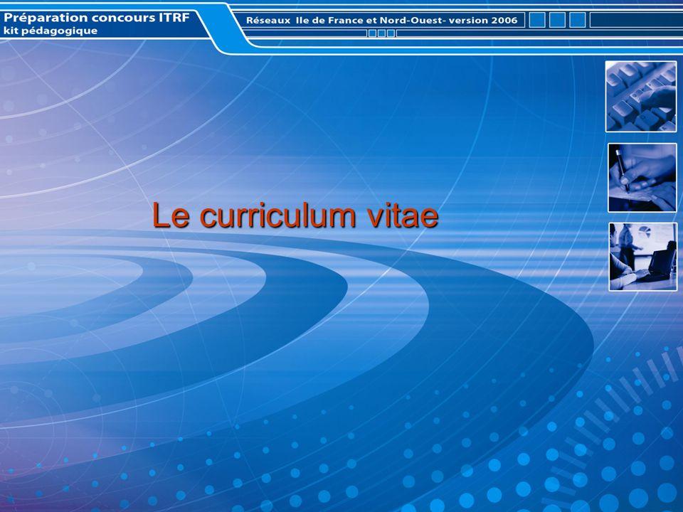 Le curriculum vitae Le curriculum vitae