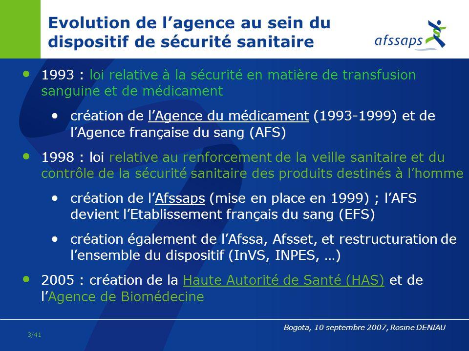 2/41 Bogota, 10 septembre 2007, Rosine DENIAU LAfssaps / carte didentité Établissement public de lÉtat (EPA) Placée sous tutelle du ministre chargé de la Santé Créée par la loi n°98-535 du 1er juillet 1998 relative au renforcement de la veille sanitaire et du contrôle de la sécurité sanitaire des produits destinés à lhomme Mise en place par le décret n°99-142 du 4 mars 1999 nommant son Directeur général : lAfssaps sest alors substituée à lAgence du médicament 5 directions scientifiques, 3 sites, un effectif de 950 personnes 11 commissions, 9 groupes dexperts