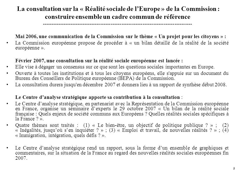 2 La consultation sur la « Réalité sociale de lEurope » de la Commission : construire ensemble un cadre commun de référence --------------------------
